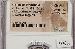 138-129 BC Seleucid Kingdom Antiochus VII AR Tetradrachm rv Athena NGC Ch AU B-5