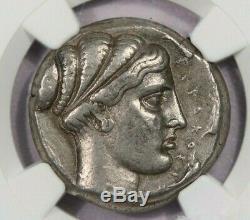 430-430 BC Sicily, Syracuse AR Tetradrachm obv Nike over Quadriga NGC Ch VF B4
