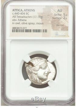 440-404 BC Ancient Greece Athens AR tetradrachm NGC AU 5/5 2/5 BRITE WHITE OWL