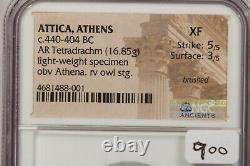 440-404 BC Attica, Athens AR Tetradrachm light-weight specimen NGC XF B-1