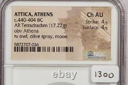 440-404 BC Attica Athens AR Tetradrachm obv Athena rv owl olive NGC Ch AU B-11