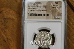 440-404 B. C. Ancient Greek Silver Tetradrachm, Athens Owl, NGC Mint State (MS)