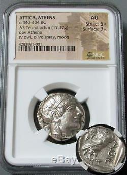 440- 404 Bc Silver Attica Athens Tetradrachm Athena/ Owl Coin Ngc About Unc