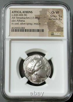 440- 404 Bc Silver Attica Athens Tetradrachm Athena Owl Coin Ngc Ch Vf 5/5 4/5