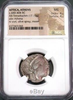 440- 404 Bc Silver Attica Athens Tetradrachm Athena/ Owl Coin Ngc Mint State 4/4