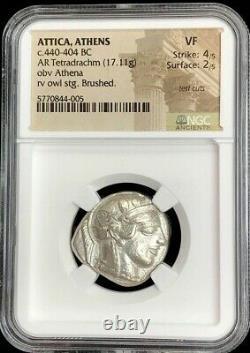 440- 404 Bc Silver Attica Athens Tetradrachm Athena Owl Coin Ngc Very Fine 4/2