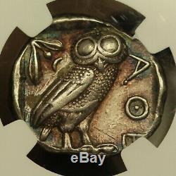 440 B. C. Athens Silver AR Tetradrachm, Athenian Owl, NGC Choice XF Star, Toned
