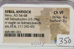 54-68 AD Syria, Antioch Nero AR Tetradrachm rv eagle on fulmenbranch Ch Vf B4
