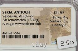 69-79 AD Syria, Antioch Vespasian AR Tetradrachm rv eagle withwreath NGC Ch VF B4