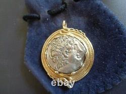 80-51 BC Greek Silver Tetradrachm Emperor Ptolemy XII in 14k Gold Bezel COA 778