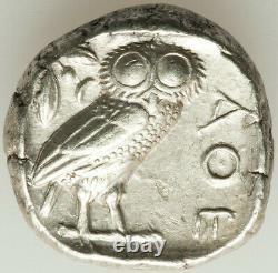 ANCIENT GREECE ATHENS OWL TETRADRACHM 440-404 BC XF-AU 17.2 GRAM GENUINE m9