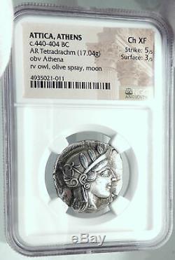 ATHENS Attica 440BC Silver Greek Tetradrachm ATHENA OWL NGC Certified Choice XF