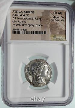 ATHENS Greece 440BC Ancient Silver Greek TETRADRACHM Coin Athena Owl NGC i86403