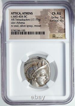 ATHENS Greece 440BC Ancient Silver Greek TETRADRACHM Coin Athena Owl NGC i87713