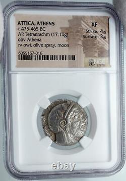 ATHENS Greece 475BC Ancient Silver Greek TETRADRACHM Coin Athena Owl NGC i88625