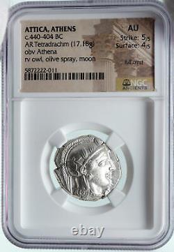 ATHENS Greece Silver Greek TETRADRACHM Coin Athena FULL CREST OWL NGC i86409