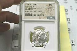 ATTICA ATHENS MS c440-404 BC AR TETRADRACHM OBV ATHENA OWL, OLIVE SPRAY