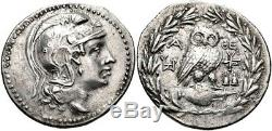 ATTICA. Athens. 154/3 BC. AR OWL tetradrachm (35mm, 16.52 gm). NGC XF 5/3 RARE