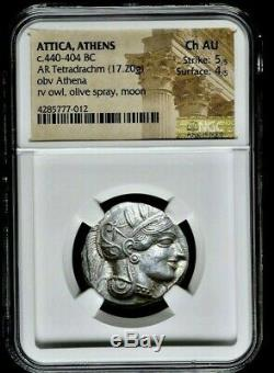 ATTICA Athens Athena Owl 440-404 BC AR (Silver) Tetradrachm NGC Ch-AU 5/5 3/5