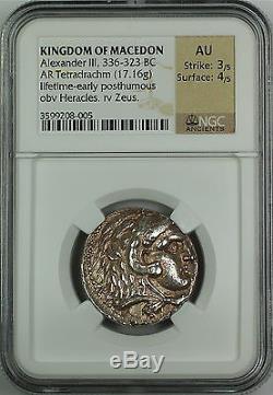 Alexander III 336-323 BC, Silver Tetradrachm, Kingdom of Macedon NGC AU Ancient