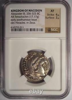 Alexander the Great AR Tetradrachm 336-323 BC Certified NGC XF (EF) Nice