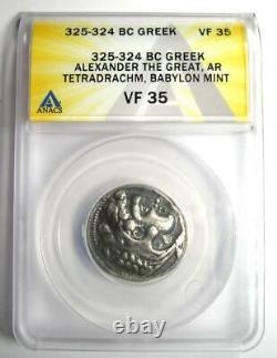 Alexander the Great III AR Tetradrachm Lifetime Coin 325-324 BC ANACS VF35