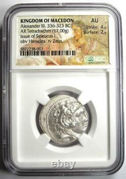 Alexander the Great III Seleucus I AR Tetradrachm Coin 336-323 BC NGC AU