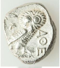Ancient Athens Athena & Owl 393-294 BC AR late mass issue tetradrachm AU