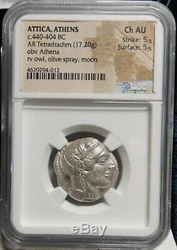 Ancient Athens Greece Athena Owl Tetradrachm, 440-404 BC, 5/5, 5/5, NGC AU