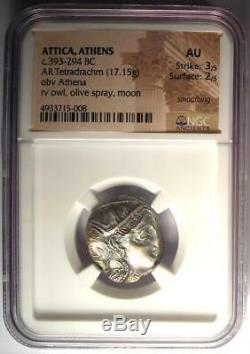 Ancient Athens Greece Athena Owl Tetradrachm Coin (393-294 BC) NGC AU