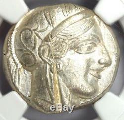 Ancient Athens Greece Athena Owl Tetradrachm Coin (440-404 BC) NGC AU, Test Cut