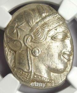 Ancient Athens Greece Athena Owl Tetradrachm Coin (440-404 BC) NGC Choice AU