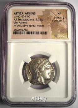 Ancient Athens Greece Athena Owl Tetradrachm Coin (440-404 BC) NGC XF