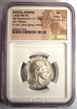 Ancient Athens Greece Athena Owl Tetradrachm Coin (Early 455-440 BC) NGC VF