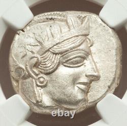Ancient Athens Greece Athena Owl Tetradrachm Silver Coin 440-404 BC NGC Ch AU