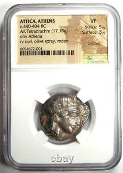 Ancient Athens Greece Athena Owl Tetradrachm Silver Coin (440-404 BC) NGC VF
