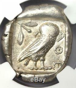 Ancient Egypt Near East Athena Owl Tetradrachm Coin (400 BC) NGC XF (EF)