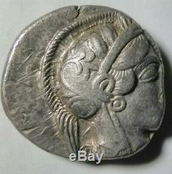 Ancient Greece Athena OWL 454 BC. Attica Athens Stunning Tetradrachm Silver Coin