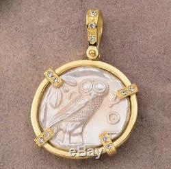 Ancient Greece Athens Owl Tetradrachm 454-404 B. C. In 18kt Gold Diamond Pendant