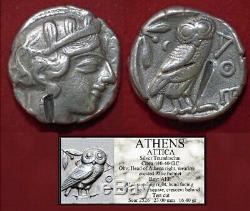 Ancient Greek Coin Attica ATHENA and OWL Silver Tetradrachm