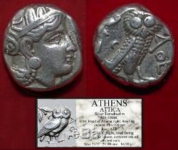 Ancient Greek Coin Attica ATHENA and OWL Silver Tetradrachm No test cuts