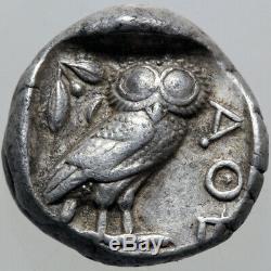 Ancient Greek Coin Attica Athens Owl Silver Tetradrachm-test Cut-450 Bc