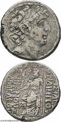 Ancient Greek Coin Silver Tetradrachm Seleukid Kings Syria Philippos I Zeus 88-7
