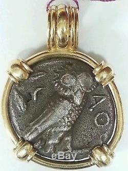 Ancient Greek Coin tetradrachm OWL mounted in 14K Gold Pendant Rare Coin