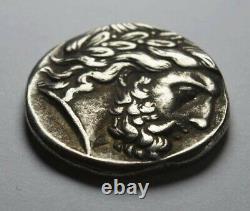 Ancient Greek Macedonian Silver Tetradrachm Coin 350BC. Philip II, Zeus