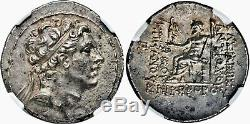 Ancient Greek Seleucid Kingdom Antiochus IV 175-164 BC AR Tetradrachm NGC CH AU