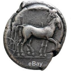 Ancient Greek Sicily Syracuse Silver Tetradrachm Coin Quadriga Nike Dolphin 480
