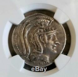 Athena, Attica New Style Tetradrachm NGC XF 5/3 Ancient Silver Coin Satyr