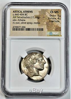 Athens AR Silver Tetradrachm NGC Choice MS 5/5 4/5 Fine Style