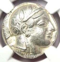 Athens Athena Owl Tetradrachm Coin 465-455 BC NGC AU Fine Style Early Issue